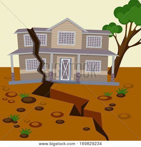 Earthquake damaged house and ground splitted in two parts. Natural disaster destroyed environment and residential building. Vector illustration of broken home and land with stones, falling tree