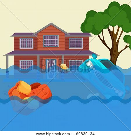 Flood realistic natural disaster vector illustration. Cottage house, car, trees and furniture under water. Inundation of countryside. Overflow of water that submerges land