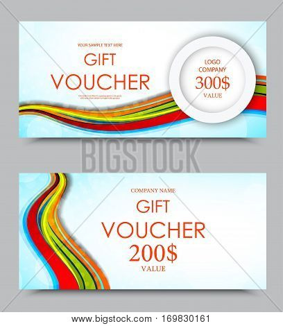 Gift company voucher template on three and two hundred dollars with colorful wavy curved rainbow lines pattern. Vector illustration