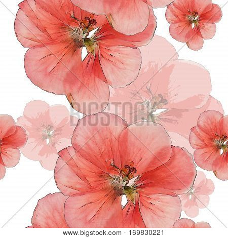 Geranium cranesbill. Colorful texture of pressed dry flowers. Seamless pattern for continuous replicate. Beautiful photo collage.