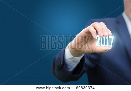 Businessman welcome in the new year concept design illustration banner