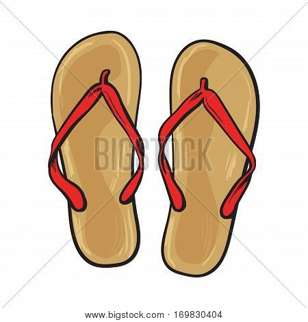 Pair of flip flops, summer time vacation attribute, slippers, shoes, sketch style vector illustration isolated on white background. Hand drawn flip flops, sandals, symbol of summer vacation