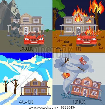 Set of natural disasters banners realistic vector illustrations. Snow avalanche in mountains. Landslide caused by ground movements. House burning in fire. Tornado twisting cottage
