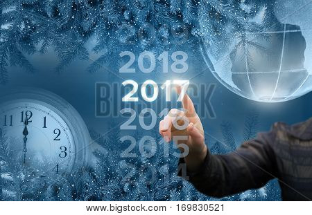 Businesswoman welcome in the new year concept design