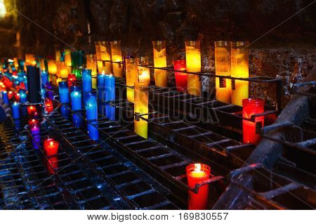 Barcelona Spain - January 06 2017: Candles for prayers in ther church of the Benedictine monastery of Santa Maria de Montserrat