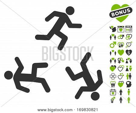 Running Men pictograph with bonus valentine design elements. Vector illustration style is flat rounded iconic eco green and gray symbols on white background.