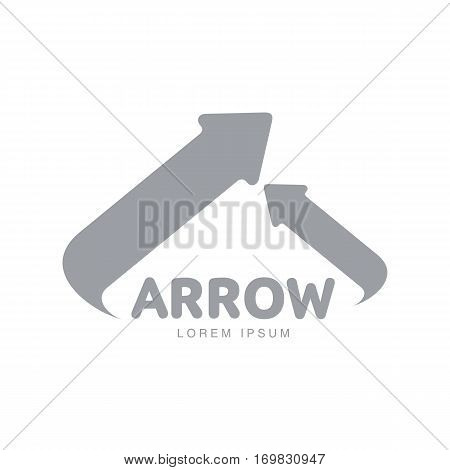 Corporate logo template with two arrows meeting at central point and forming triangle, vector illustration isolated on white background. Graphic arrow logotype, logo design, many ways to one goal
