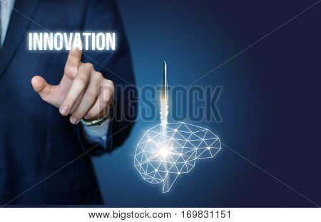 Businessman includes innovative thinking concept design illustration banner