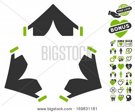 Tent Camp pictograph with bonus love clip art. Vector illustration style is flat rounded iconic eco green and gray symbols on white background.