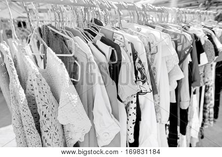 Clothing on display racks; Koh Pha Ngan; Thailand