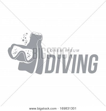Black and white graphic diving logo template with mask and flippers, vector illustration isolated on white background. Scuba diving, snorkeling logotype, logo design with stylized mask flippers