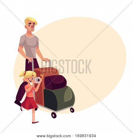 Young man pushing airport luggage trolley with his daughter holding camera, cartoon illustration on background with place for text. Young father and daughter going on vacation in the airport