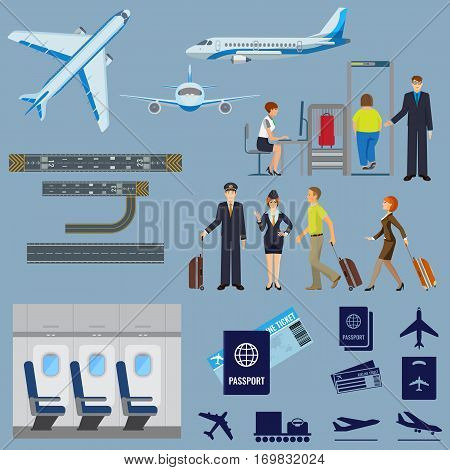 Airline working process signs collection on white. Vector poster of flying passenger aircrafts, interior of plane, check-in procedure, pilot and stewardess, people with suitcases, passport and ticket