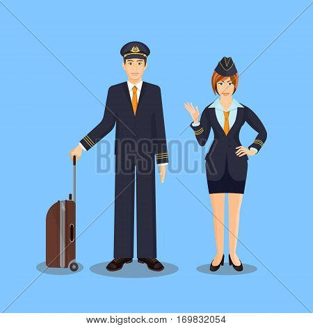 Pilot with brown suitcase and stewardess in skirt and jacket waving hand. Vector illustration of isolated aircraft stuff of male and female people wearing uniform standing on blue background.