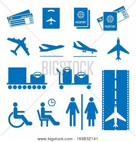 Airline colourless signs set isolated on white. Passports and tickets, airplane flying, landing and taking off, baggage on special equipments, aircraft on runway, people with disabilities signs