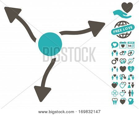 Curve Arrows pictograph with bonus love images. Vector illustration style is flat rounded iconic grey and cyan symbols on white background.