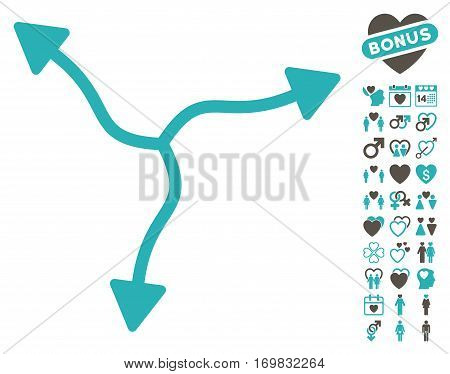 Curve Arrows icon with bonus marriage design elements. Vector illustration style is flat rounded iconic grey and cyan symbols on white background.