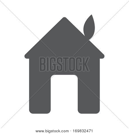 Illustration of green leaf with house. Vector flat logo design template. Abstract concept for ecology theme, real estate agencies, hotels, cottages rent, building.