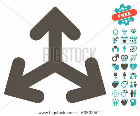 Direction Variants pictograph with bonus amour icon set. Vector illustration style is flat rounded iconic grey and cyan symbols on white background.