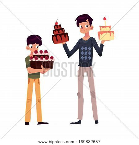 Father and son holding birthday cakes, getting ready for party, cartoon vector illustration isolated on white background. Young man and his little son choosing birthday cake