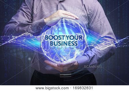 Business, Technology, Internet And Network Concept. Young Businessman Shows The Word: Boost Your Bus