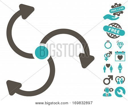 Fan Rotation icon with bonus valentine pictograms. Vector illustration style is flat rounded iconic grey and cyan symbols on white background.