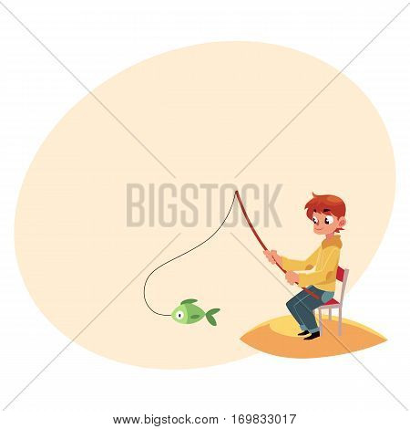 Little boy fishing with a rod sitting on sandy river, pond bank, summer vacation concept, cartoon vector illustration with place for text. Little boy fishing from sandy river bank