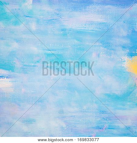 Artistic acrylic brushed grunge bright sky color texture with light strokes