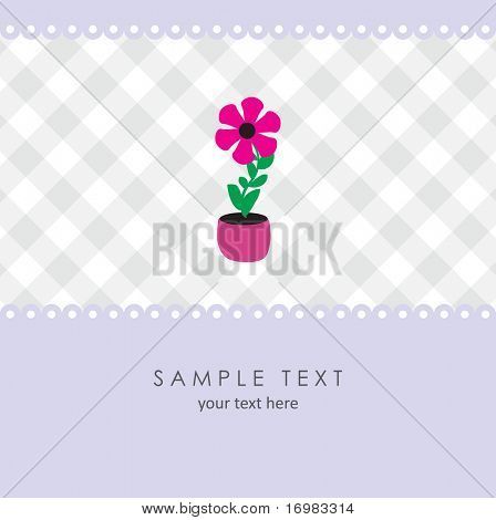 Cute flower. Vector greeting card