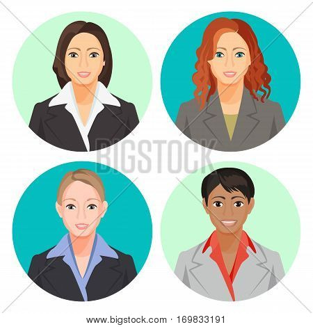 Avatar businesswoman portraits in four circles. Vector user pics of smiling women of european and african nationalities wearing light and dark suits with shirts, with loose and plait hair