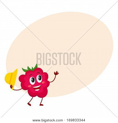 Cute and funny comic style raspberry character holding straw hat, cartoon vector illustration on background with place for text. Red and ripe raspberry character, mascot greeting someone with hat off