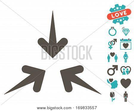 Impact Arrows icon with bonus decorative icon set. Vector illustration style is flat rounded iconic grey and cyan symbols on white background.