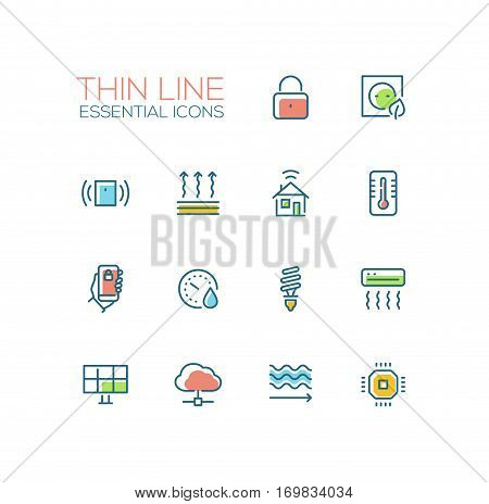 Smart House - modern vector simple thin line design icons and pictograms set with accent color. Padlock, energy saving, alarm system, climate control, mobile device, solar battery, heat leak, microchip. Material design concept symbols
