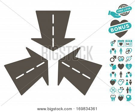 Merge Directions pictograph with bonus valentine icon set. Vector illustration style is flat rounded iconic grey and cyan symbols on white background.