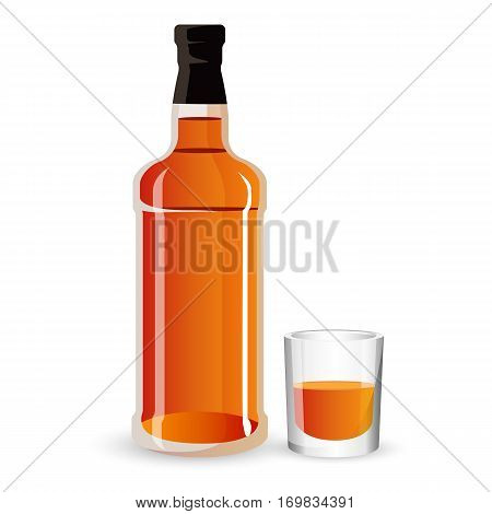 Bottle of alcohol drink and stemware isolated on white. Whisky, scotch or cognac strong brown beverage icon sign. Luxury spirit drink
