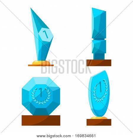Trophy glass awards collection rewards of different shape isolated on white. Vector poster of winning cups with number one, reward with circle, oval, triangular trophy on wooden base