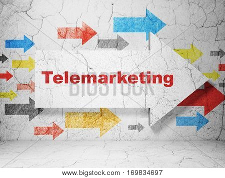 Advertising concept:  arrow with Telemarketing on grunge textured concrete wall background, 3D rendering
