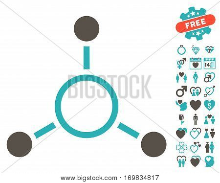 Radial Structure pictograph with bonus lovely pictures. Vector illustration style is flat rounded iconic grey and cyan symbols on white background.
