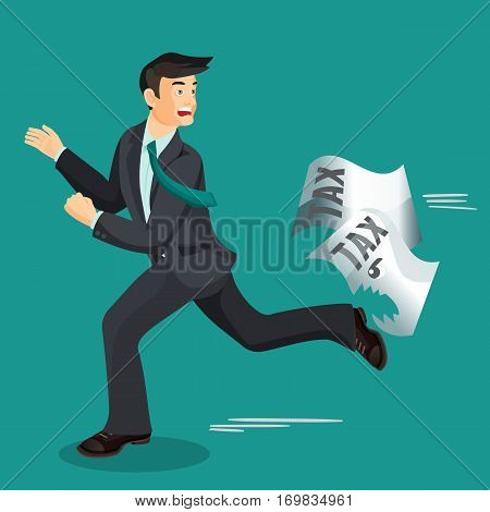 Man escaping from paper taxes that bites him. Tax dodging, non-payment concept. Vector illustration of running male person wearing black business suit, that does not pay taxes and is afraid of them.