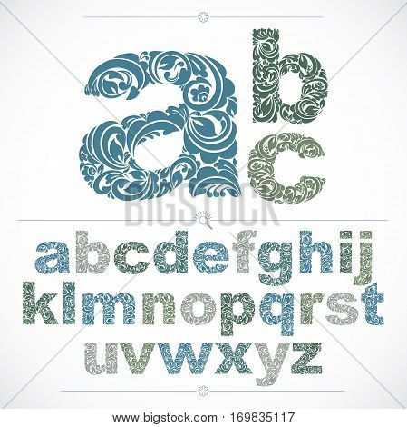 Floral Alphabet Sans Serif Letters Drawn Using Abstract Vintage Pattern, Spring Leaves Design. Vecto