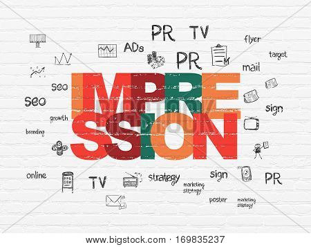 Advertising concept: Painted multicolor text Impression on White Brick wall background with  Hand Drawn Marketing Icons