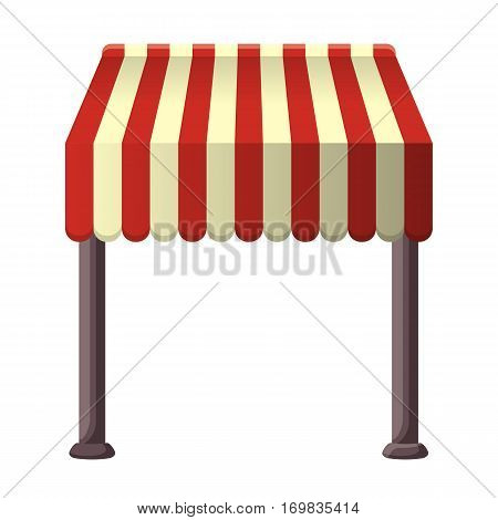 Striped beige-red awning for shops, street cafes and restaurants in summertime. Isolated sunshade canopy with two dark columns on white. Vector illustration of colourful sun protecting roof.