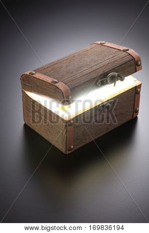 retro antique chest box on the gray background