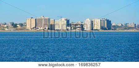 Famagusta.Abandoned hotels and the beach at Varosha in Famagusta. Northern Cyprus.