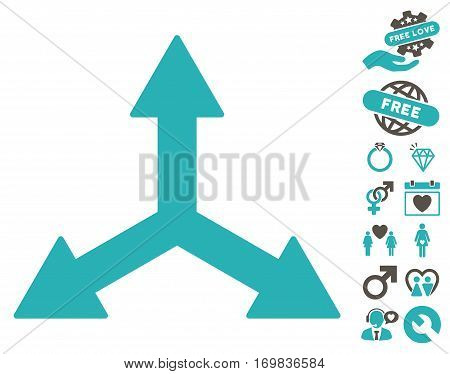 Triple Arrows pictograph with bonus lovely symbols. Vector illustration style is flat rounded iconic grey and cyan symbols on white background.