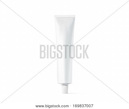 Blank white ointment tube mockup 3d rendering. Clear skincare cream pack design mock up. Clean gel bottle template logo branding presentation. Empty cosmetic paste packaging cover. Plastic lotion.