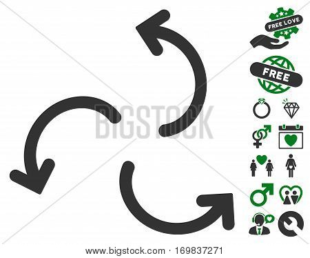 Cyclone Arrows pictograph with bonus amour graphic icons. Vector illustration style is flat rounded iconic green and gray symbols on white background.