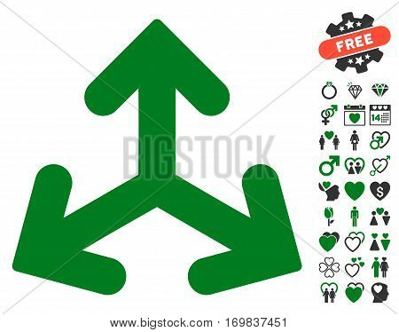 Direction Variants pictograph with bonus love design elements. Vector illustration style is flat rounded iconic green and gray symbols on white background.