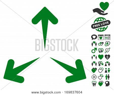 Expand Arrows icon with bonus decoration clip art. Vector illustration style is flat rounded iconic green and gray symbols on white background.