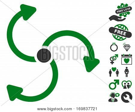 Fan Rotation icon with bonus amour pictograms. Vector illustration style is flat rounded iconic green and gray symbols on white background.